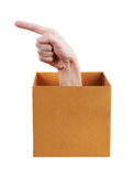 Hand with index finger protruding from the box Stock Photography