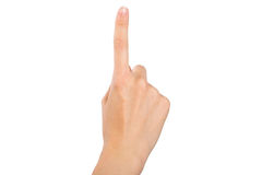 Hand with the index finger. Stock Photos