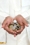 Hand with Indian rupee coins Royalty Free Stock Photography