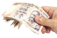 Hand with Indian thousand rupee notes Royalty Free Stock Image
