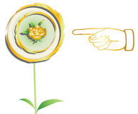 Hand indicate to gold flower Stock Photo