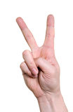 Hand indicating peace victory sign Stock Photo