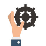 hand with industrial wheel cog gear Stock Images