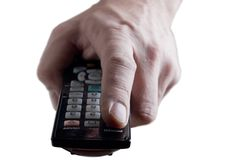 Hand with infrared  remote control. Isolated on wh Royalty Free Stock Images