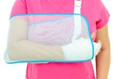 Hand injury. With white medicine bandage wearing hand sling Stock Photos