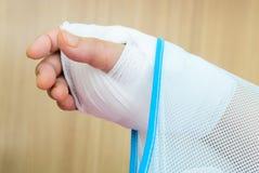 Hand injury. With white medicine bandage wearing hand sling Stock Photography