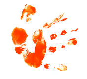 Hand with ink. Child's hand print with ink Stock Photo