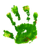Hand with ink. Child's hand print with ink Royalty Free Stock Photography