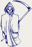 Hand inked grim reaper. Doodle style Stock Photo