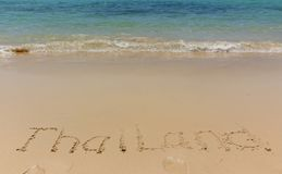 Inscription on the beach royalty free stock photography