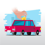 Hand insert coin to car. investing money in the car Royalty Free Stock Photography