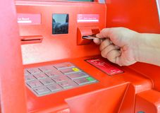 Hand inserting ATM card Royalty Free Stock Photography