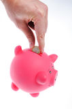 Hand inserting coin to piggy bank Stock Photography