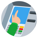 Hand inserting credit card into the atm slot Royalty Free Stock Photo