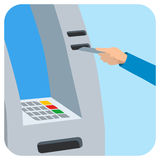 Hand inserting credit card into the atm slot Stock Photos