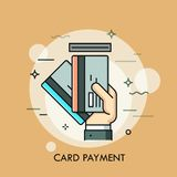 Hand inserting credit or debit card into slot. Payment method, money withdrawal, ATM service, transaction concept. royalty free illustration