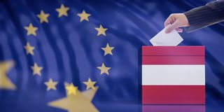 Hand inserting an envelope in a Austrian flag ballot box on European Union flag background. 3d illustration. Elections in Austria for EU parliament. Hand stock image