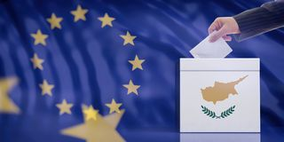 Hand inserting an envelope in a Cyprus flag ballot box on European Union flag background. 3d illustration. Elections in Cyprus for EU parliament. Hand inserting royalty free stock photos