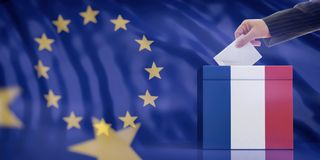Hand inserting an envelope in a France flag ballot box on European Union flag background. 3d illustration. Elections in France for EU parliament. Hand inserting stock photos