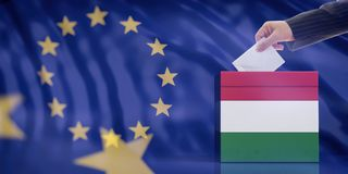 Hand inserting an envelope in a Hungary flag ballot box on European Union flag background. 3d illustration. Elections in Hungary for EU parliament. Hand royalty free stock image