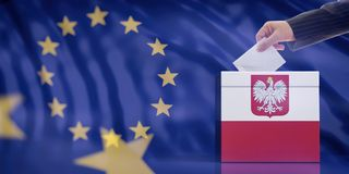 Hand inserting an envelope in a Poland flag ballot box on European Union flag background. 3d illustration vector illustration