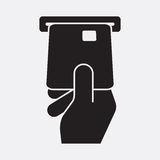 Hand inserts a credit card into ATM. Vector icon isolated on grey background vector illustration