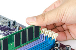 Hand installing Random Access Memory (RAM) Royalty Free Stock Photo