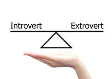 Hand with introvert and extrovert  concept Stock Photo