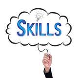 Hand isolate pencil idea  write blue skill illustration. Stock Image