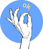 hand isolated ok sign white woman Иллюстрация вектора EPS10 Стоковые Фотографии RF