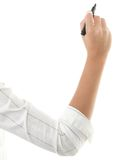 hand isolerad vit writing Royaltyfri Bild