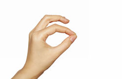 hand isolerat klämmande Arkivfoto