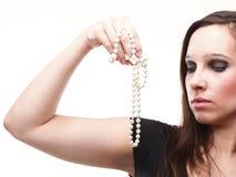 hand isolerat pärlemorfärg sexigt vitt kvinnabarn Fotografering för Bildbyråer