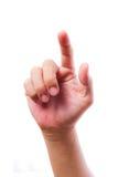 hand isolerat trycka på för skärm Royaltyfri Foto