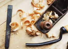 Hand jack plane and wood chips Stock Image