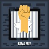 Freedom lifestyle design. Hand and jail of freedom lifestyle and raised theme Vector illustration Stock Images