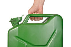 Hand with Jerrycan royalty free stock photography