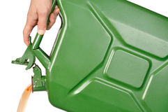 Hand with Jerrycan Stock Photo
