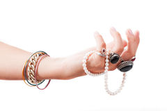 Hand with jewelery Stock Photography