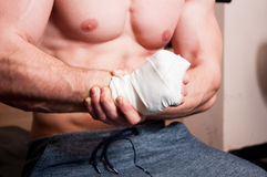 Hand joint bandaged Stock Images