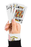 Hand and joker in sleeve. Isolated on white background Royalty Free Stock Photography