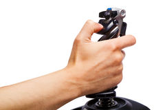 Hand joystick control flight simulator Royalty Free Stock Image