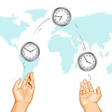 Hand Juggling Clock showing International Times Stock Image