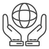 Hand keep globe icon, outline style. Hand keep globe icon. Outline hand keep globe vector icon for web design isolated on white background stock illustration