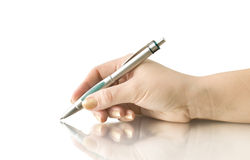 Hand keep pen and writing Royalty Free Stock Photos