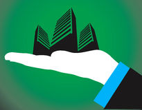 hand keeping buildings in palm royalty free illustration