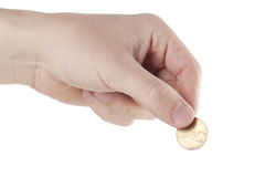 Hand keeping coin Stock Photo