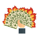 Hand keeps burning money. Cash flow. Banknotes fly away into fire. Bankruptcy and the collapse of the monetary system. Flat vector cartoon cash flow illustration Stock Photo