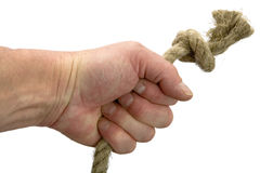 Hand keeps rope with node Stock Photography