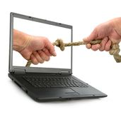 Hand keeps rope with node Royalty Free Stock Photos